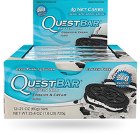 Quest Bar Cookies & Cream, Box of 12 Bars (60g/bar) | NutriFarm.ca