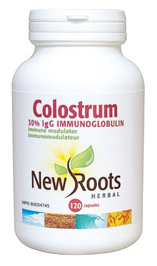 New Roots Colostrum 570 mg, 120 Capsules | NutriFarm.ca