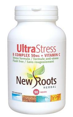 New Roots Ultra Stress B Complex 50 mg + Vitamin C, 90 Capsules | NutriFarm.ca