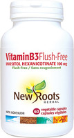 New Roots Vitamin B3 Flush-Free 100 mg, 60 vegetable capsules | NutriFarm.ca
