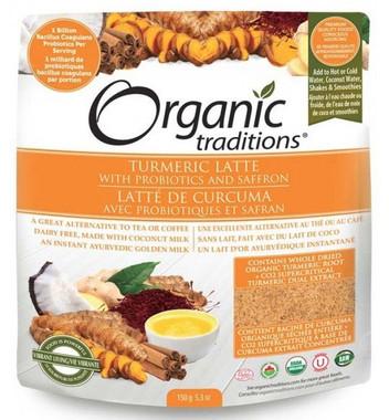 Organic Traditions Turmeric Latte with Probiotics and Saffron, 150 g | NutriFarm.ca