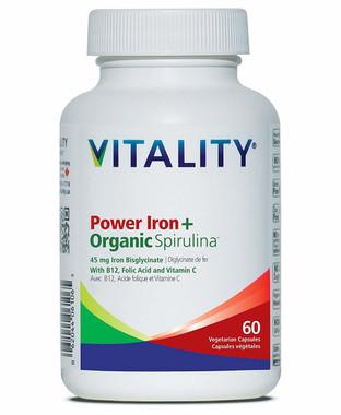 Vitality Power Iron+Organic Spirulina, 60 Vcaps | NutriFarm.ca