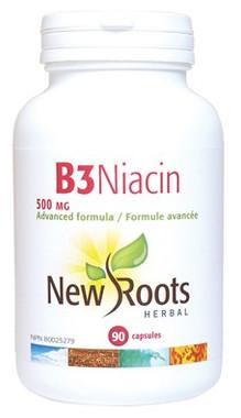 New Roots Vitamin B3 Niacin 500 mg, 90 Capsules   NutriFarm.ca