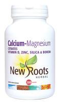New Roots Calcium Magnesium Citrates Vitamin D, Zinc, Silica & Boron, 200 Capsules | NutriFarm.ca