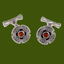 Amber Celtic Cross Knotwork Chain Mens Stylish Pewter Cufflinks