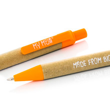 Orange Biodegradable Pen Close Up