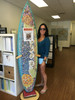wood surfboard art display stand