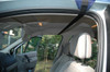 Through car straps on surfboard roof rack