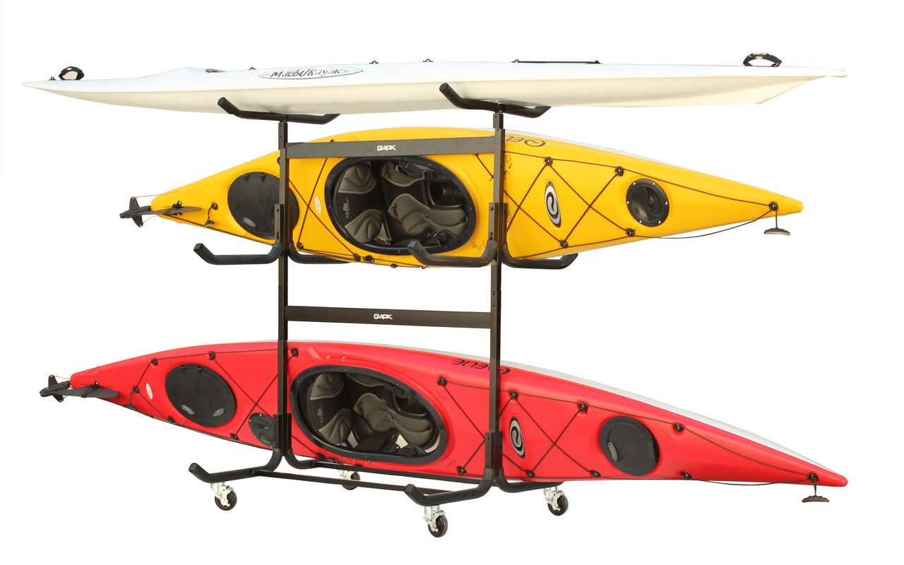 outdoor and home kayak storage rack with wheels