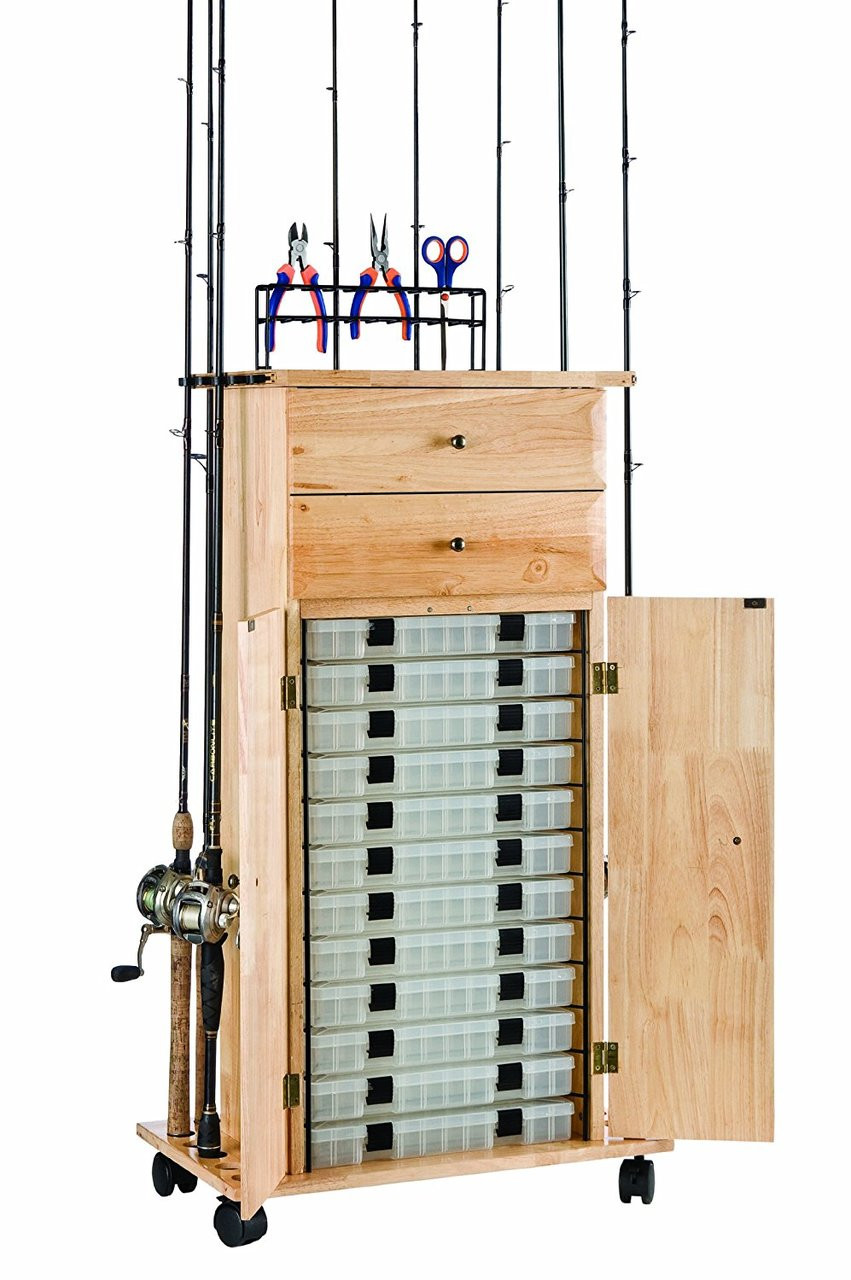 organized fishing tackle tower