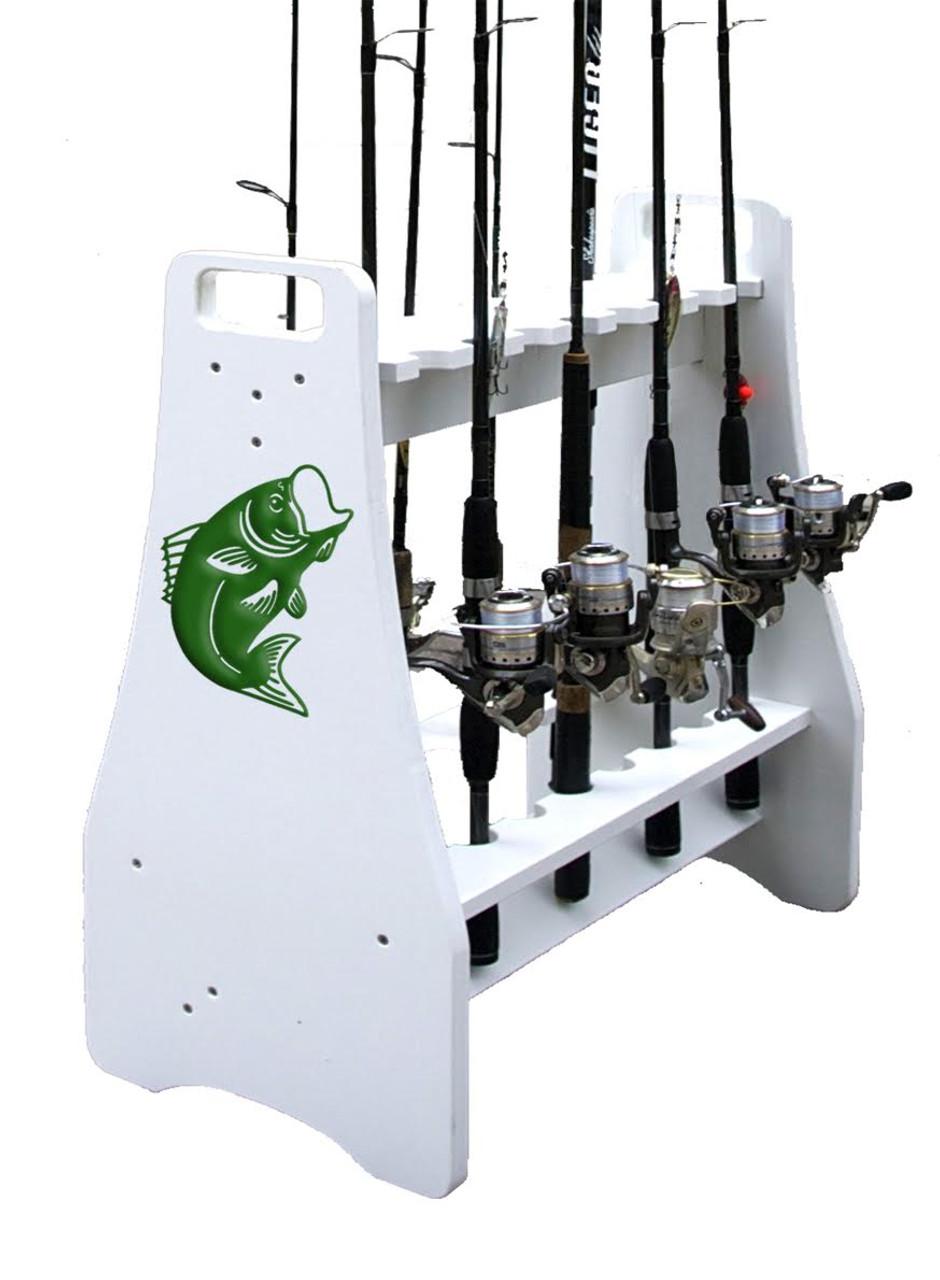 bass logo fishing rod stand