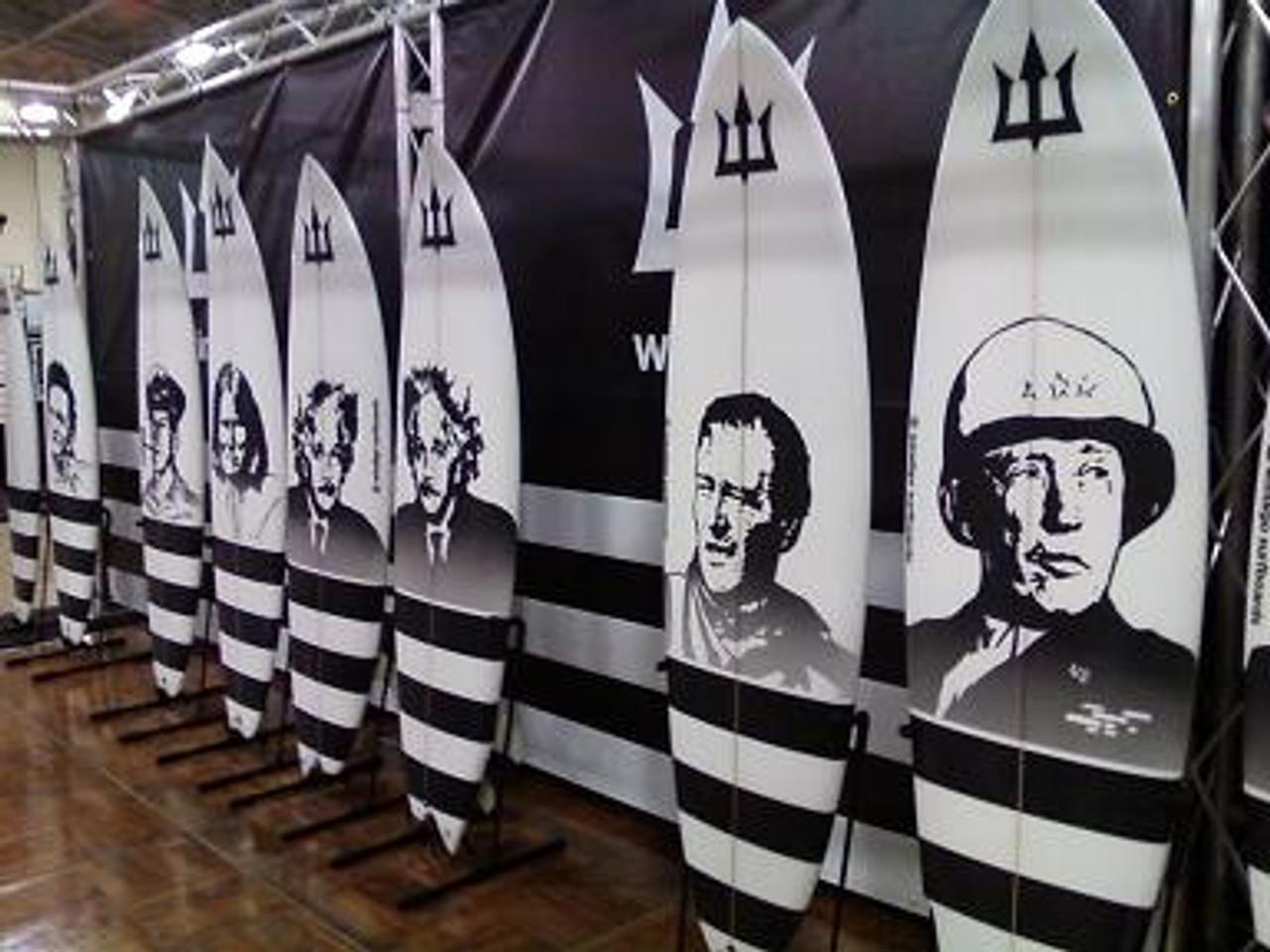 surfboard rack that displays the board art