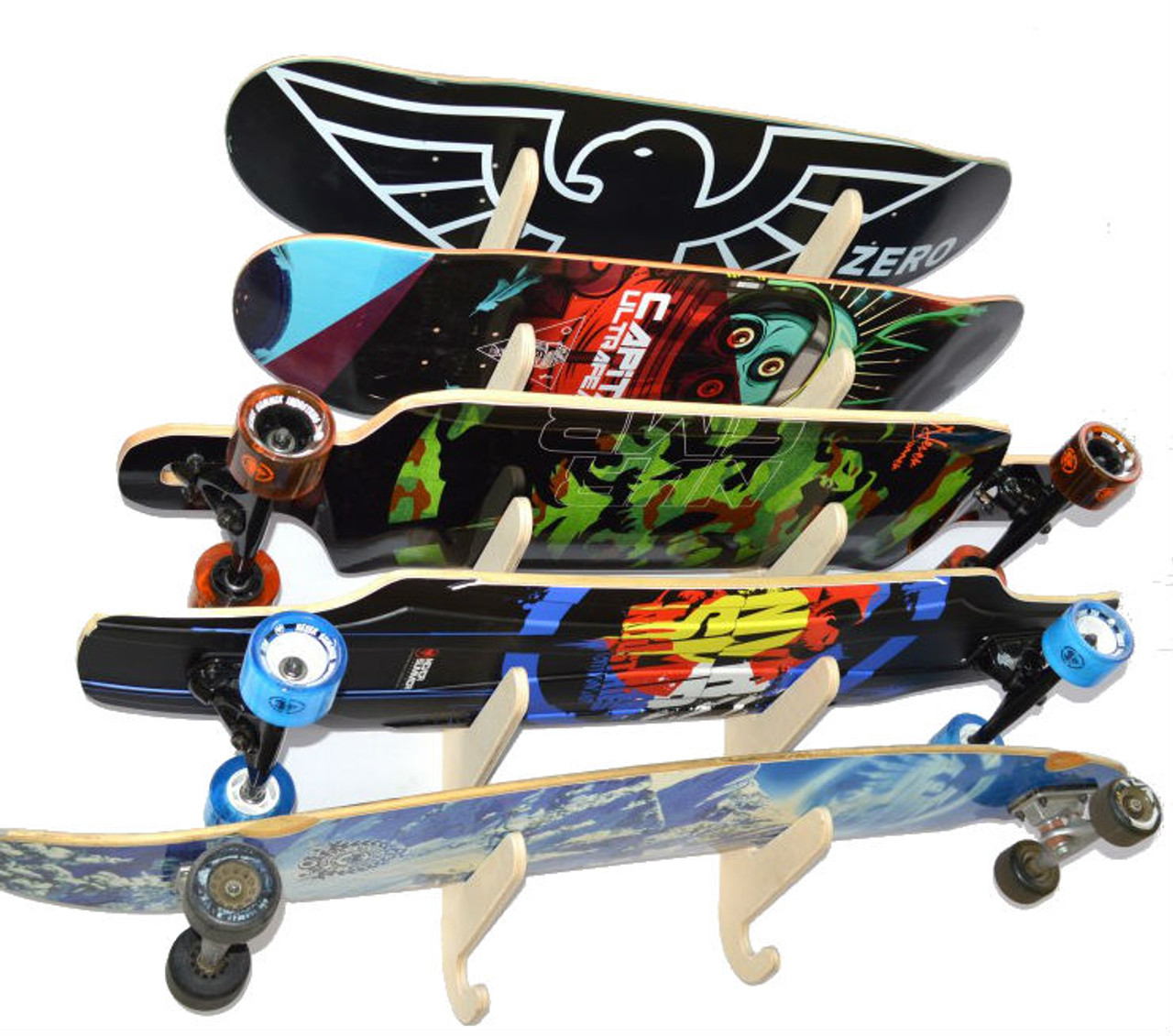 longboard and skateboard wall rack
