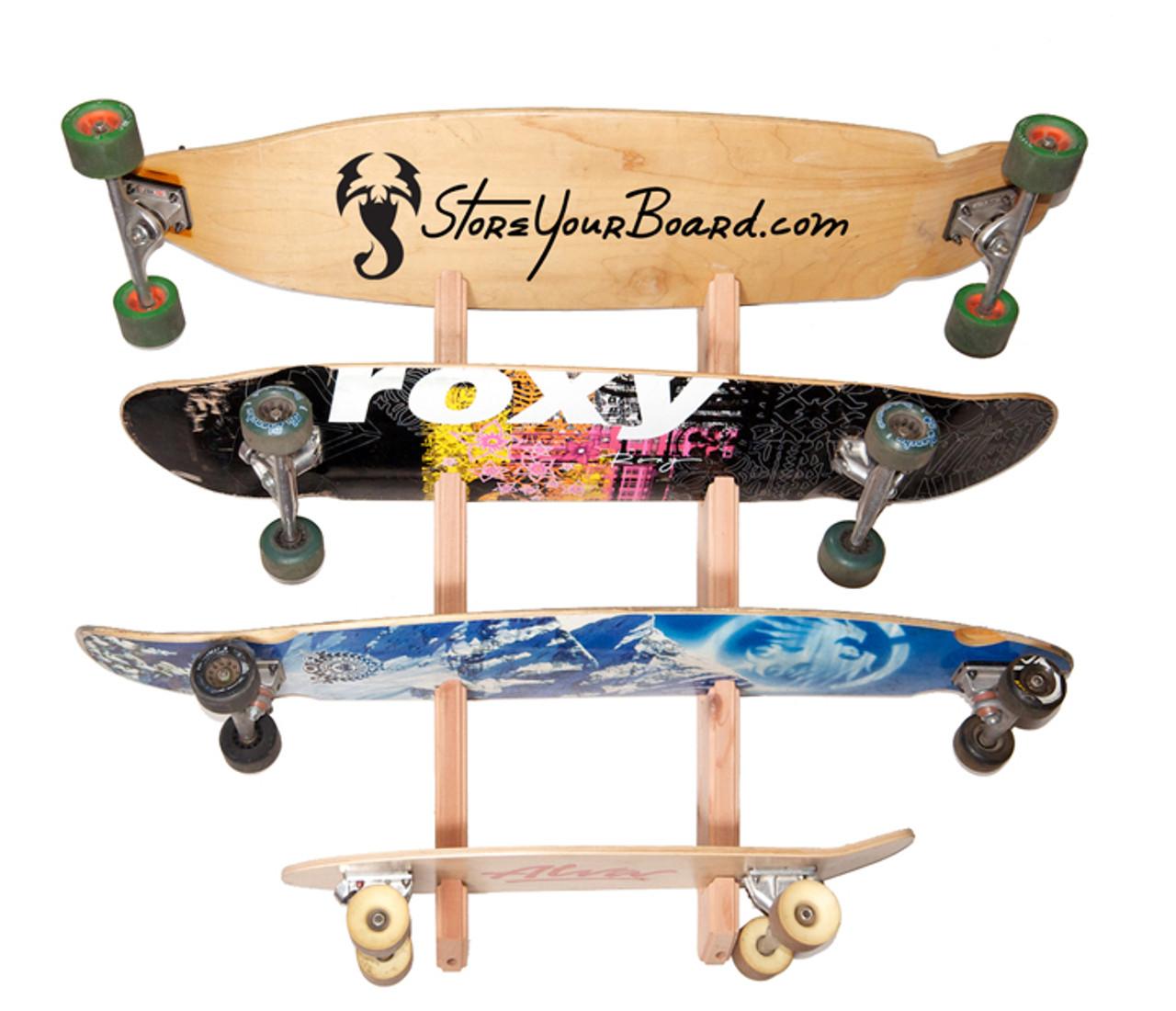 wooden skateboard rack
