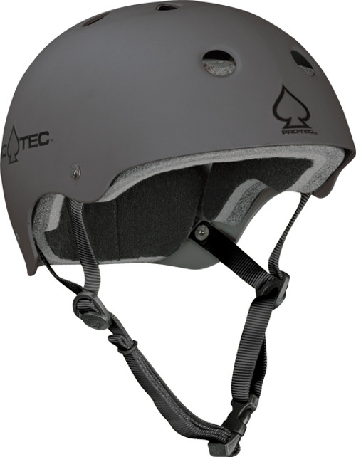 grey skateboard helmet made by Pro Tec
