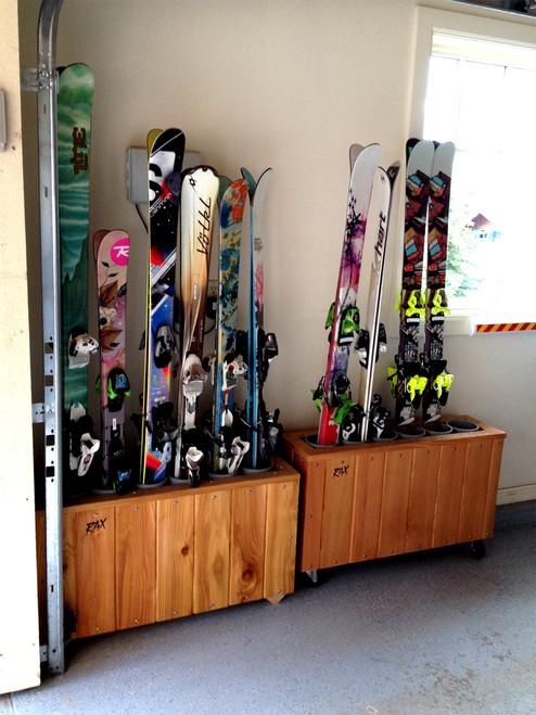hand crafted cedar wood ski floor stand