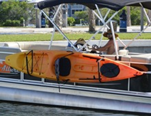 rack for carrying kayaks on pontoon boat