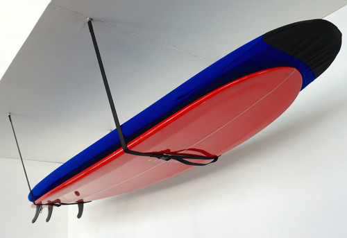 home storage for 2 surfboards on ceiling
