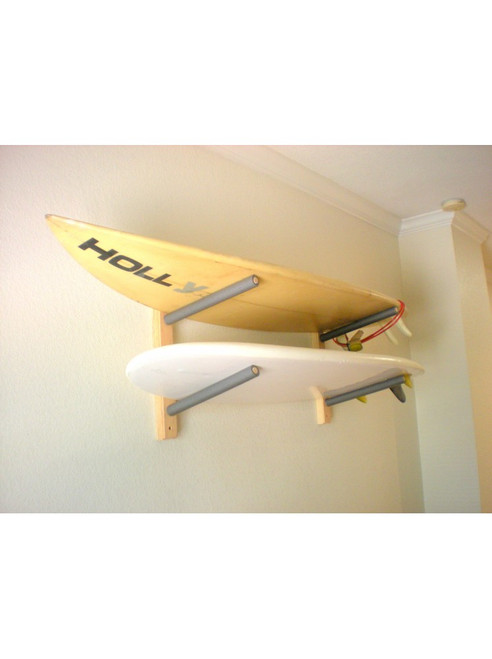 wood surfboard rack that holds up to two shortboards