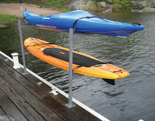 outdoor dock storage for 2 sups and kayaks