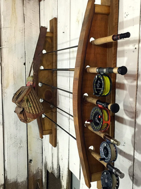reclaimed wood fishing rack