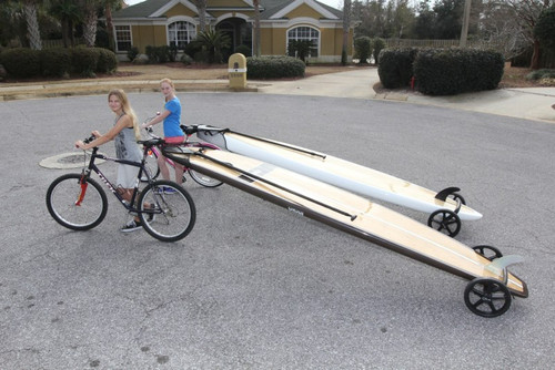 towing SUP behind bike
