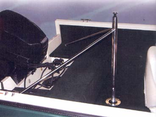 Rear ski pole for outboard boats. Barefoot International