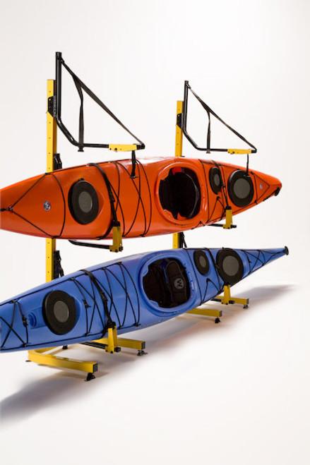 suspenz deluxe freestanding kayak rack for 3 boats