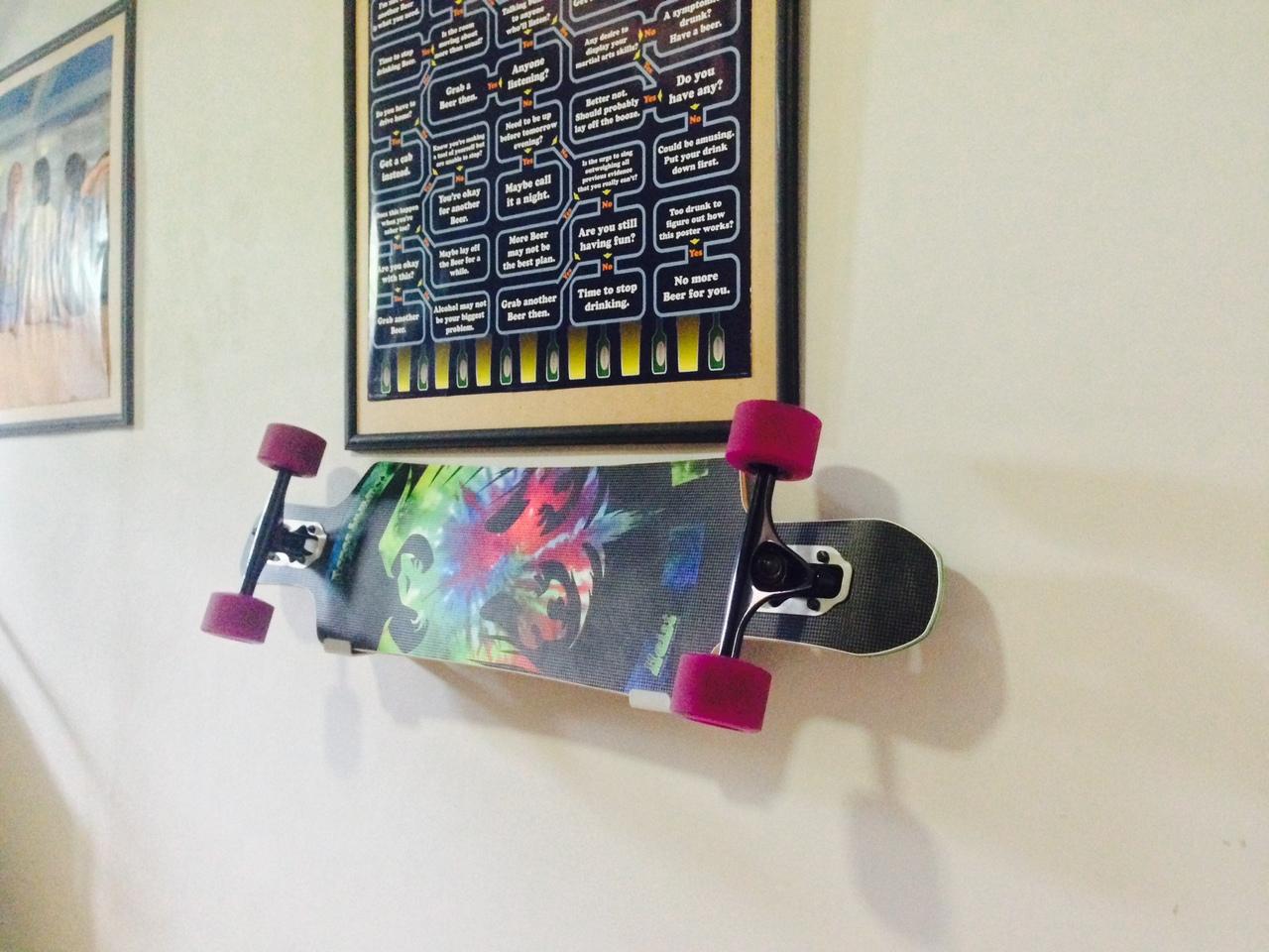 wall mount skateboard longboard rack