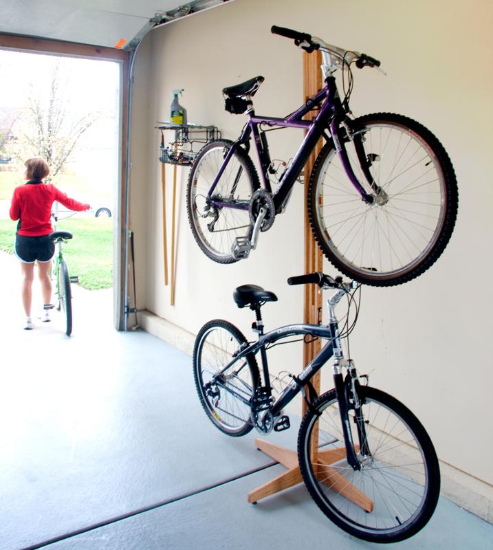 Freestanding Wood Two Bike Rack American Red Oak