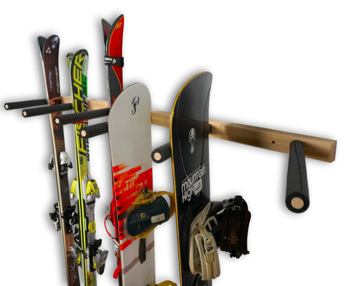 Vertical Ski And Snowboard Wood Wall Rack | 3, 6, Or 9 Rack Arms    StoreYourBoard.com