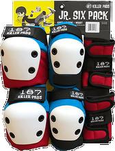 187 - 6-pack Junior Pad Set Red/wht/blu W/wht - Skateboard Pads