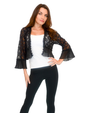 Vivian's Fashions Sweater - Black Embroidery Lace Shawl