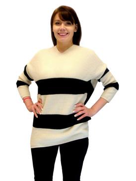 Sweater - Striped Sweater, Beige with Black Stripes