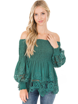 Petalroz Top - Off the Shoulder Top, Bubble Sleeve