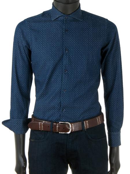 Denim Blue Dotted Twill Shirt