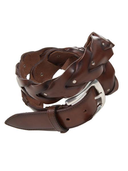 Brown Plaited Leather Belt