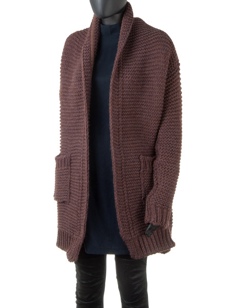 Rust Brown Chunky Knit Cardigan