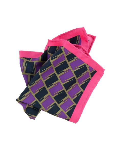Pink, Black & Purple Patterned Pocket Square