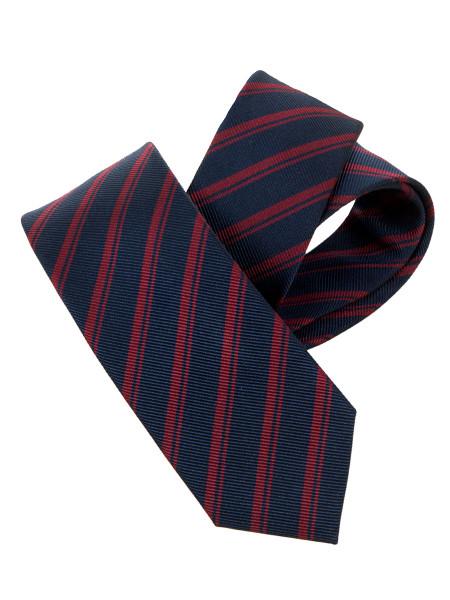 Cabernet & Navy Stripe Silk Tie