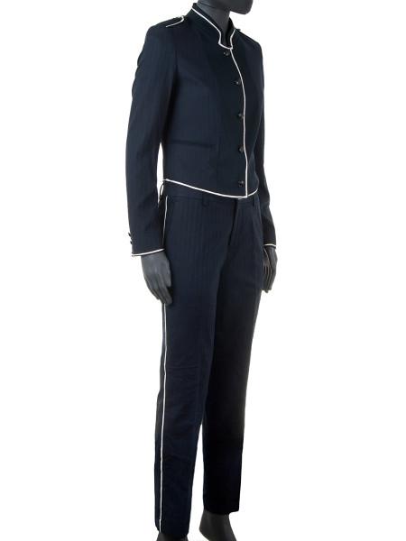 Navy Bell Boy Cotton-Linen Blazer Jacket