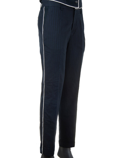Navy Bell Boy Cotton-Linen Pants