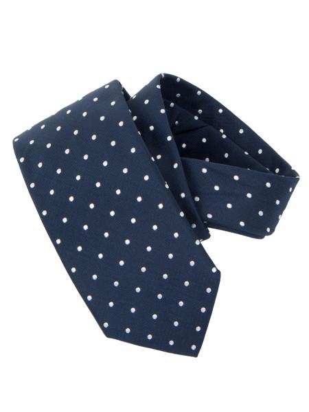 Dark Navy White Micro Spot Silk Tie