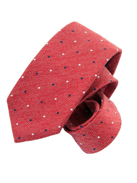 Red Navy & White Micro Spot Silk Tie