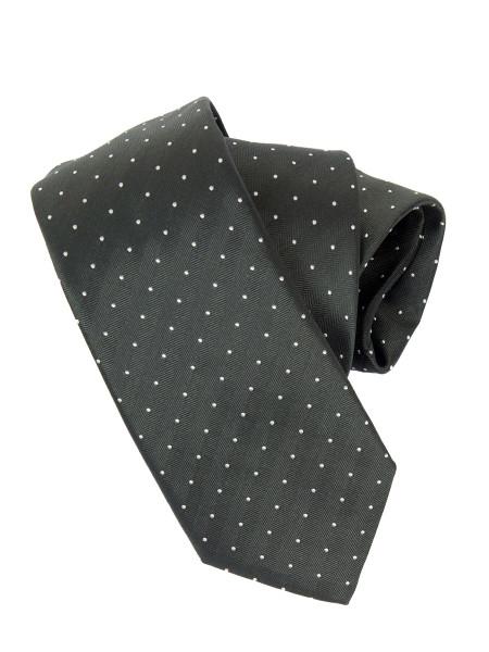 Dark Green White Micro Spot Silk Tie