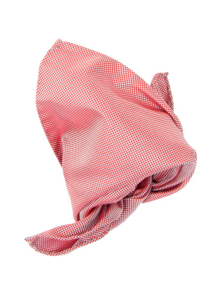 Red Superfine Houndstooth Silk Pocket Square