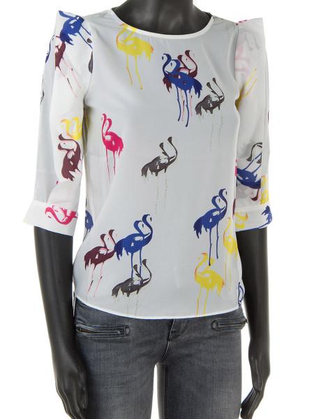 White Flamigo Print Shirt