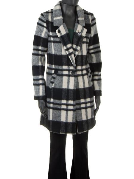 Black Check Wool Spring Coat