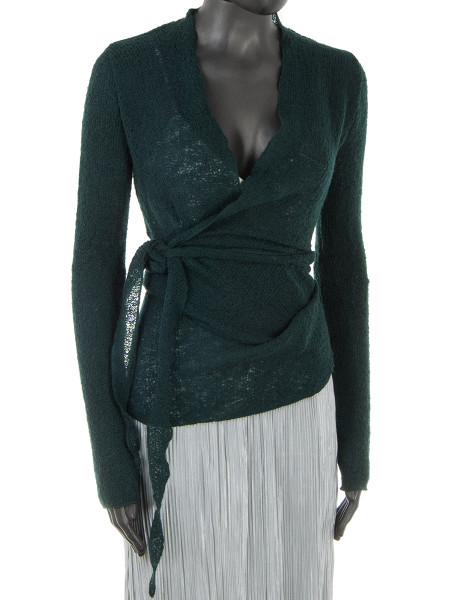 Dark Green Light Wool Wrap Cardigan