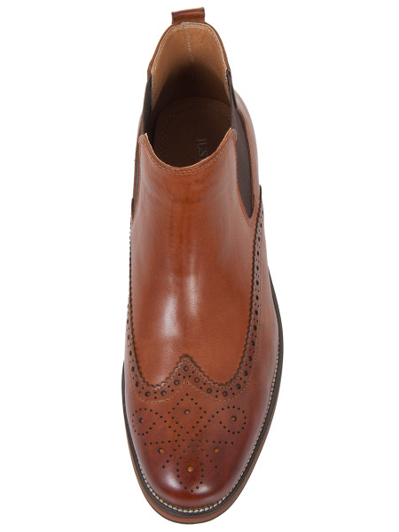 Cognac Brogue Chelsea Boot